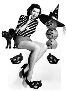 Ann Miller, Halloween, 1949. #vintage #1940s #actresses #pumpkins #black_cats