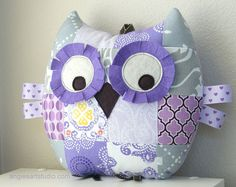 Medium Patchwork Owl Pillow Plush Stuffed Toy   by angiebabygifts, $32.00