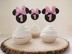 Minnie Mouse Black & Light Pink Polkadot Cupcake Toppers - Set of 12