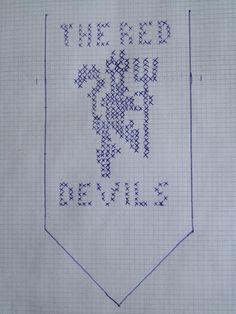 manu votter - Google-søk Knitting Charts, Knitting Patterns, Knitting Ideas, Manchester United, Mittens, Cross Stitch, Bullet Journal, The Unit, Crocheted Blankets