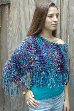 Knit ponchette - free pattern from Mango Moon