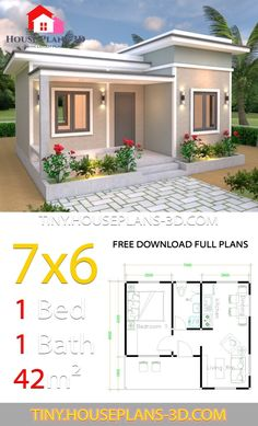 House Plans with One Bedroom Flat Roof - Tiny House Design House Roof Design, Flat Roof House Designs, Bungalow House Design, Tiny House Design, One Bedroom House Plans, 1 Bedroom House, One Bedroom Flat, Sims House Plans, House Layout Plans