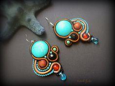 Black Turquoise Soutache Earring, Statement Oriental Earring, Turquoise Soutache…