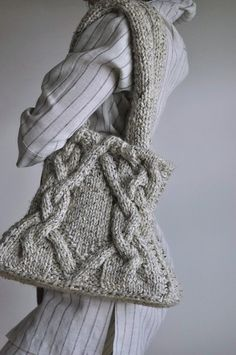 Unique hand knit cable shoulder bag knitted by EveldasNeverland, $224.00