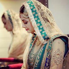 Dia Mirza's wedding lengha by Ritu Kumar | Indian celebrity weddings | Photograph by The Wedding Filmer | more pics: http://thebigfatindianwedding.com/2014/dia-mirzas-wedding-photos