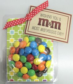 ishing You a Most Marvelous Day!    The perfect little treat to have at the breakfast table to wish your child a great  first day back at school.  Includes M&M's in a cute little bubble pkg. with a tag that reads Wishing you a Most Marvelous Day!  Paper may vary.