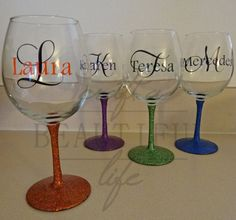 Set of 4 Glitter Stem Wine Glasses by CraftABeautifulLife on Etsy,