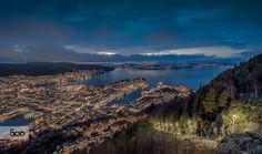 Bergen by Rune Hansen Bergen, Runes, Lights, Mountains, Water, Travel, Outdoor, Gripe Water, Outdoors