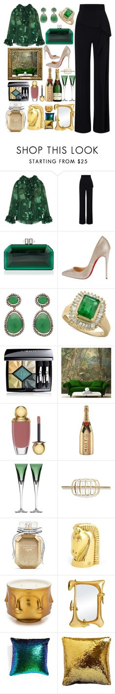 """Terrace Garden Dinner"" by pulseofthematter ❤ liked on Polyvore featuring Anna Sui, Roland Mouret, Judith Leiber, Christian Louboutin, Effy Jewelry, Christian Dior, MoÃ«t & Chandon, Waterford, Elizabeth and James and Victoria's Secret"