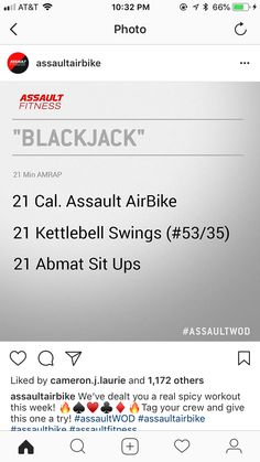 Crossfit Workouts At Home, Fun Workouts, Bike Workouts, Assault Bike Workout, Amrap Workout, Conditioning Workouts, Travel Workout, I Work Out, Train Hard
