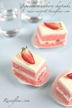 How to make Japanese Strawberry Shortcake (recipe with video) - Rice 'n Flour Japanese Strawberry Shortcake, Strawberry Cream Cakes, Strawberry Shortcake Recipes, Japanese Bakery, Japanese Pastries, Japanese Sweets, Japanese Cookies, Japanese Recipes, Japanese Drinks