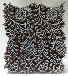 Indian Wooden Hand Carved Textile Fabric Printing Block Stamp - Floral Paisley. Jaipur, Rajasthan, India