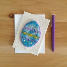 Easter Egg Card // Happy Easter Card // Needle Felted Burlap Fabric Card // Hand Embroidered Card
