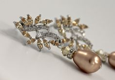 Champagne Bridal Earrings. CZ Leafy Wedding Earrings by JamJewels1 -- $57.00