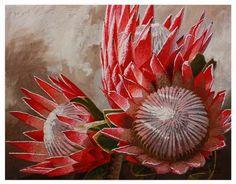 Floral Art Mixed Media - Proteas II by Danie Marais Protea Art, Protea Flower, African Artwork, South African Artists, Flower Art, Art Flowers, Art Portfolio, Watercolor Flowers, Art Pieces