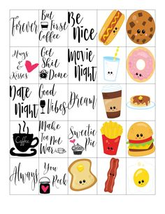 Free Printable-Breakfast & Coffee Quote Planner Sticker Sheet