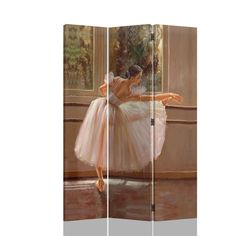 """3 panel Ballerina dancer woman pastel look room divider shoji screen on canvas print . Made with a painted canvas covering. Measures 48"""" W x 71"""" H. SKU AD5470"""