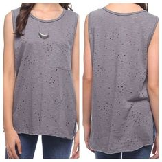 Distressed Pocket Tank Distressed Pocket Tank in Gray - Sizes S,M,L available. Relaxed fit tank featuring crew neckline, raw edge hem detail, chest pocket, side slits, and distressed holes on front and back. 100% Cotton. Mittoshop Tops Tank Tops