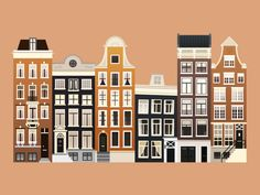 A piece of an illustration of some nice typical houses in Amsterdam Winter Illustration, House Illustration, Travel Illustration, Amsterdam Art, Amsterdam Houses, Dutch House, Map Painting, Building Illustration, Buch Design