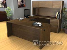 escritorio en U color moka tiene incorporado un armario, también es usado para atención al publico