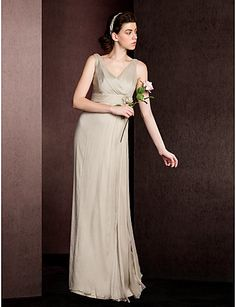 Sheath/Column V-neck Floor-length Silk Bridesmaid Dress – USD $ 99.99