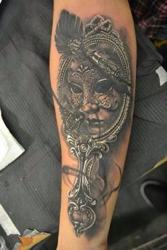Venetian Masquerade Mask Mirror Tattoo On Arm