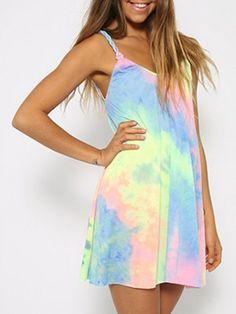 Rainbow Tie Dye Weave Spaghetti Strap Shift Dress