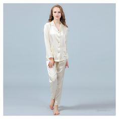 19 Momme Silk Pajamas Set Long Sleeve Shirt & Long Pants - ChicHouz