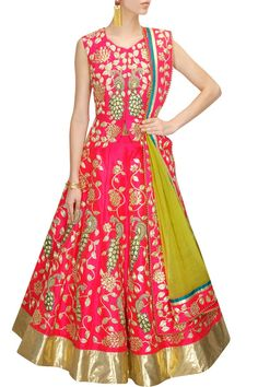 Aharin India Pink and gold peacock embroidered lehenga set $1,492