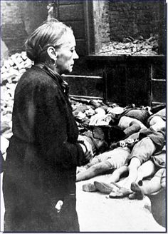 An old woman looks at the dead children outside a school at Braunschweig after an Allied bombing raid, October (Bundesarchiv Bild) Karla Gerard, Lest We Forget, World History, World War Two, Historical Photos, Wwii, The Past, Thing 1, School Children