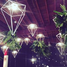 Incredible wedding reception lighting from AVIdeas and White+White Wedding Styling.