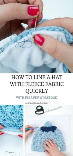 How to line a hat with fleece fabric quickly. How to put lining in a crocheted beanie. Line crochet projects. FREE crochet tutorial. Step by Step crochet tutorials. #crochettutorial #crochet #crochettutorials #crochetlining #free
