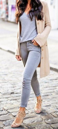 Top; Tee; Grey; Tucked in; Pants; Jeans; Skinny; Cardigan; Sweater; Nude; Beige; Tan; Long; Open; Shoes; Heels; Open toe; Strappy; Nail; Black; Ring; Gold; Stacked; Necklace; Small; Pendant; Fall; Autumn; P129