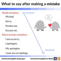 What to say after making a mistake.