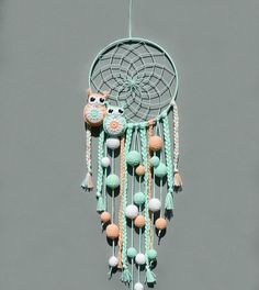This Nursery dream catcher wall hanging Mint and peach decor for kids room Baby shower gift Boho decoration for baby room with pompoms and owls is just one of the custom, handmade pieces youll find in our wall hangings shops. Peach Decor, Mint Decor, Crochet Owls, Crochet Home, Dream Catcher For Kids, Baby Room Neutral, Baby Christmas Gifts, Gris Rose, Baby Owls