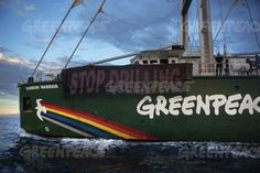 """""""Activists aboard the Greenpeace ship, Rainbow Warrior unfurl a banner reading: """"""""No Drilling"""""""" in Itally © Francesco Alesi"""" Rainbow Warrior, Activists, Drill, Sailing, Banner, Around The Worlds, Australia, Ship, Reading"""