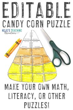 These two differentiated candy corn puzzle activities are a great way to keep elementary or middle school kids engaged during the fall months. Use them in September, October, November, or at Halloween or Thanksgiving to keep students learning. Any topic that fits into the shapes can be typed in - math, literacy, Spanish or other foreign languages, and more. Click through now to try these with your 2nd, 3rd, 4th, 5th, 6th, 7th, or 8th grade kids. #CandyCornActivities #FallActivities Halloween Math, Halloween Activities, Activities For Kids, Grammar Activities, Fall Halloween, Thanksgiving Activities, Holiday Activities, Teaching Science, Math Games