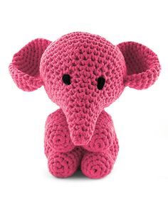 Hoooked Large Elephant Mo bubblegum pink amigurumi crochet kit & pattern #crochet #gift #cute #animal #craft