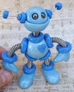 Blue Benson Mini Robot  Sculpture  Polymer von RobotsAreAwesome