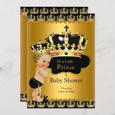 Invitación Príncipes reales Baby Shower Black Gold Blona