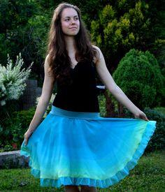Zeleno-modrá hedvábná sukýnka