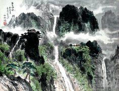(North Korea) Waterfalls in Mt Myohyang by Lee Gyeong-nam (1945-  ). Korean brush watercolor on paper.