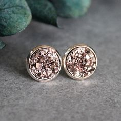 Rose Gold Stud Earrings Rose Gold Druzy by BellaBoutiqueCrafts