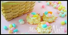 Macaroon Nests are a quick and easy treat for your Easter guests. These quick and easy coconut cookies are adorable and simple, perfect for your Easter baskets! Coconut Cookies, Coconut Macaroons, Easter Cookies, Easter Treats, Easter Food, Holiday Treats, Holiday Recipes, Holiday Fun, Trail Mix Recipes