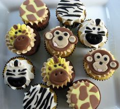 Safari Cupcakes with handmade edible animal toppers