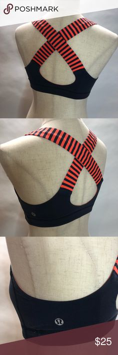 Lululemon Women's Gym Workout Top Striped XS -C313 Women's size XS Lululemon Workout sports top. Criss cross back. Orange and black. One of my favorite!  Size X-small  C313 lululemon athletica Tops Muscle Tees