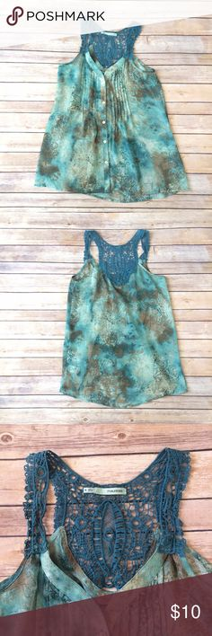 "Maurices Tanktop Turquoise blue and brown chiffon button down tanktop. Lace shoulder straps. Has a stamped floral pattern. Measures 16.75"" PTP & 28"" STH. EUC. 10610 Maurices Tops Tank Tops"