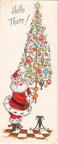Hello There! - vintage Christmas card