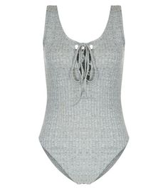 Grey Lace Up Ribbed Bodysuit | New Look