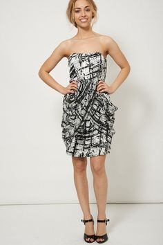 Strapless Mini Party Dress With Cross Over Draped Details UK